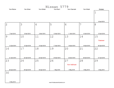 Nissan 5779 Calendar with Gregorian equivalents