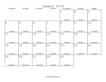 Tammuz 5779 Calendar with Gregorian equivalents