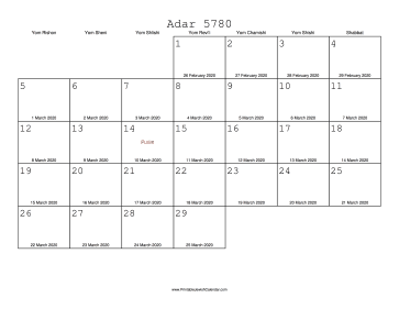 Adar 5780 Calendar with Gregorian equivalents