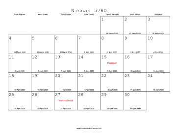 Nissan 5780 Calendar with Gregorian equivalents