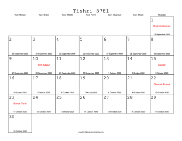 Tishri 5781 Calendar with Gregorian equivalents
