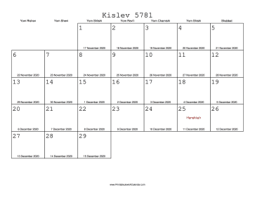 Kislev 5781 Calendar with Gregorian equivalents