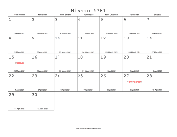 Nissan 5781 Calendar with Gregorian equivalents