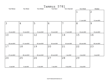 Tammuz 5781 Calendar with Gregorian equivalents