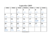 September 2009 Calendar with Jewish equivalents and holidays