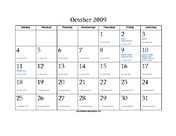 October 2009 Calendar with Jewish equivalents and holidays