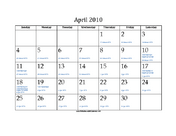 April 2010 Calendar with Jewish equivalents and holidays