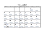 October 2010 Calendar with Jewish equivalents and holidays
