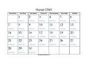 Shevat 5769 Calendar with Gregorian equivalents