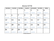 Kislev 5770 Calendar with Gregorian equivalents