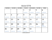 Kislev 5770 Calendar with Jewish holidays and Gregorian equivalents