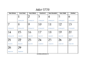 Adar 5770 Calendar with Gregorian equivalents