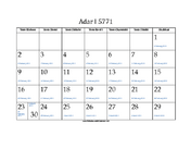 Adar_I 5771 Calendar with Jewish holidays and Gregorian equivalents